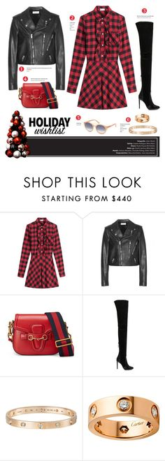 """""""All I want for Christmas..."""" by stellaasteria ❤ liked on Polyvore featuring RED Valentino, Yves Saint Laurent, Gucci, Aquazzura, Cartier and Tom Ford"""