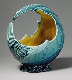 Wave bowl, ca. 1880  Formerly attributed to Christopher Dresser (British, 1834–1904)  Glazed earthenware