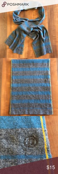 """Teal and Grey Scarf Lightweight yet warm teal and grey striped scarf with yellow stripe detail. I am not familiar with this brand and does not have any tags, so am not sure of the material, but feels very comfy. Great for men and women. 65"""" long, 11"""" wide. Accessories Scarves & Wraps"""