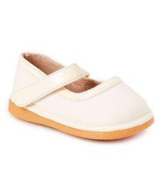 Cream Sparkle Leather Squeaker Mary Jane