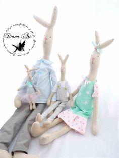 doll, bunny, maileg, diana art, królik, tilda