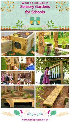 A school sensory garden encourages child development through 'hands-on' activities. Read our plant & design ideas for creating a children's sensory garden. Preschool Garden, Sensory Garden, Natural Playground, Outdoor Playground, Yard Design, Plant Design, Sensory Wall, Sensory Boards, Outdoor Learning Spaces