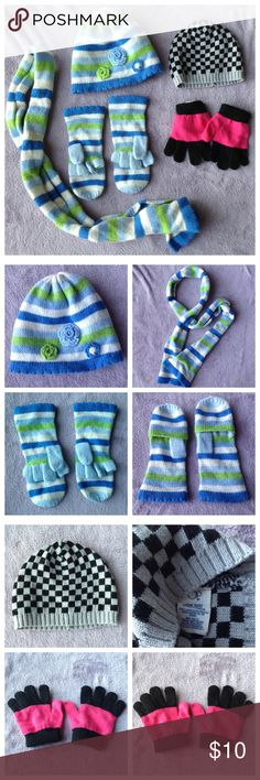 Mixed Bundle Hats Gloves Scarf Set Kids Mixed bundle for Kids. Blue Green White matching 3 PC set. Hat with flowers, scarf and gloves that fold into mittens. Op Black & white check hat. One size. Black and red gloves also says one size. Accessories Hats