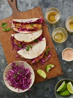 TESTED & PERFECTED RECIPE - Baja fish tacos made with crispy beer-battered cod, tangy cabbage slaw and spicy chipotle sauce tucked into a corn tortilla. Salmon Recipes, Fish Recipes, Seafood Recipes, Mexican Food Recipes, Cooking Recipes, Ethnic Recipes, Beer Battered Cod, Spicy Sauce, Gastronomia
