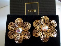 Avon AB Rhinestone Filigree Flower Earrings NIB Gold Tone Vtg GLISTENING PETALS #Avon #ClipOn