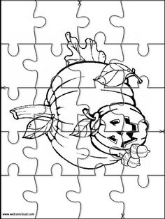 Printable jigsaw puzzles to cut out for kids Halloween 24 Coloring Pages