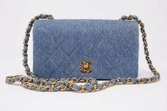 4662e0be02a7 Rare Vintage Chanel Denim Flap Bag at Rice and Beans Vintage Vintage Chanel  Bag, Vintage