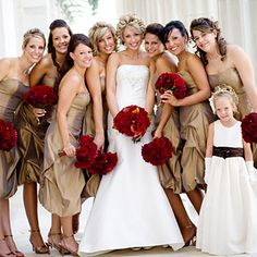 Tan dresses with burgundy flowers.... hmmmm... possibility?   It would go with burlap nicely!
