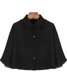 Black Lapel Half Sleeve Crop Chiffon Blouse US$21.72