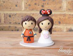 Cute kid Goku and bride with Minnie ears wedding cake topper by Genefy Playground https://www.facebook.com/genefyplayground