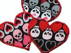 Herz Applikation Totenkopf