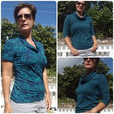 Free sewing pattern for a roll-neck t-shirt. Easy to wear t-shirt pattern with an interesting neckline and soft roll-neck. Includes pattern and video.