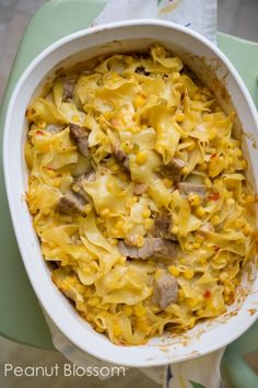 Saucy Pork & Noodle Bake: the perfect picky eater dinner. A family favorite my husband lists as one of his top 3 favorite recipes of all time. Great for using up leftover pork.