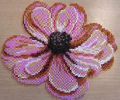 flower hama perler beads by ki-vi, Diy Perler Beads, Perler Bead Art, Pearler Beads, Pixel Beads, Fuse Beads, Pearler Bead Patterns, Perler Patterns, Flower Patterns, Beading Patterns