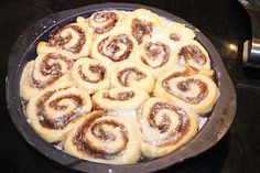 Quick cinnamon rolls! They only take an hour from start to finish. Made without yeast. Yum!