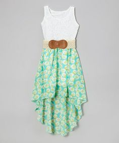 White & Green Floral Hi-Low Belted Dress - Girls by Maya Fashion #zulily #zulilyfinds