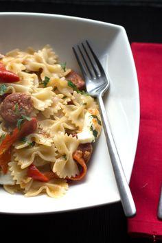 Chorizo & Roasted Red Pepper Pasta - Erren's Kitchen