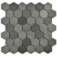 SomerTile 11.75x12-inch Structura Due Hex Black Lava Volcanic Stone Mosaic Floor and Wall Tile (Case of 5)