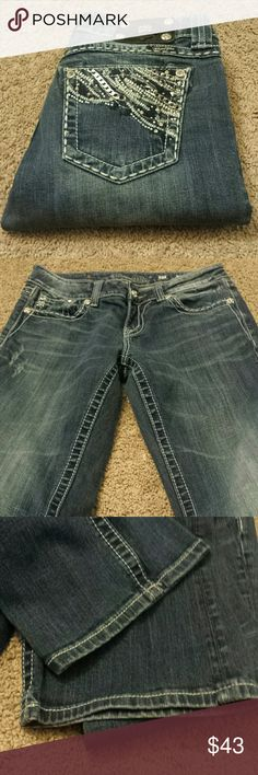 """Miss Me Boot Cut Bling Jeans Miss Me Boot Cut Bling Jeans! Size 27, inseam 33"""". EUC. Miss Me Jeans Boot Cut"""