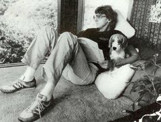 Barry Manilow and Bagel his beagle.