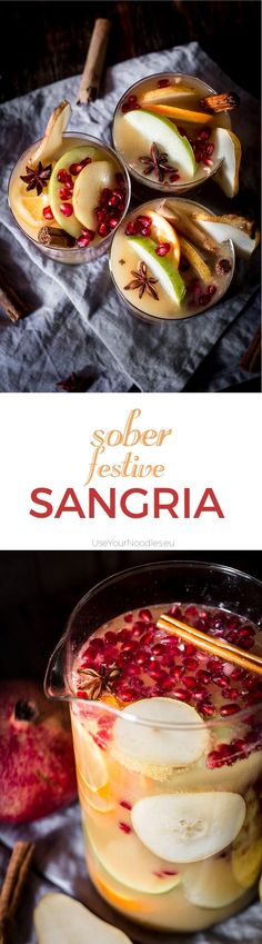 I love non-alcoholic festive sangria, especially when it tastes like winter with all its beautiful mixed fruits and Christmas spices. It's the easiest thing in the world to do and you can prepare it ahead of time. Click to find the whole recipe or pin and