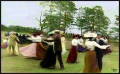 Dancing in the Field:  Colorized and textured vintage photo