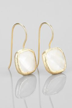 cute White Mother of Pearl Earrings in Gold