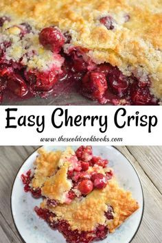 Using fresh fruit, this Easy Cherry Crisp is a perfect summer dessert. Serve this homemade fruit dessert with fresh whipped cream or a big scoop of vanilla ice cream. Easy Cherry Cobbler, Fruit Cobbler, Cherry Cobbler Recipe With Pie Filling, Cherry Crumble, Cherry Desserts, Easy Desserts, Fresh Fruit Desserts, Summer Dessert Recipes, Deserts