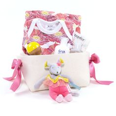 Poppy Print Baby Girl Gift Basket - Poppies – Bonjour Baby Baskets - Luxury Baby Gifts