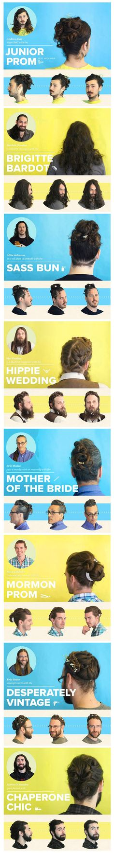 The Bold Italic took a bunch of dudes with long hair to a fancy salon and gave them fancy female updos. Look how dashing they are! Disturbingly hilarious