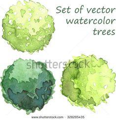 Set of watercolor trees, top view, vector