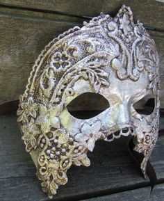 silver Venetian masquerade mask for man or woman by ladyinthetower