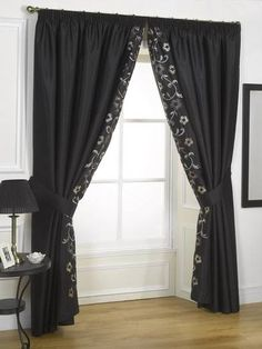 Ayanna: Is a simple yet beautiful new design. An unadorned faux silk curtain is brought to life with an embroidered leading edge featuring sequined detailing