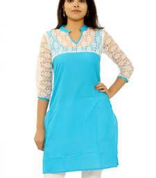 Buy Blue cotton plain kurti cotton-kurti online