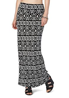 image of Southwest Diamond Foldover Waist Maxi Skirt