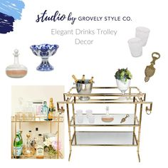 Having an elegantly gorgeous drinks trolley is one thing, filling it up is another. From flowers to crystal, you can decorate a trolley… Drinks Trolley, Bar Cart Styling, Outdoor Areas, Living Room Designs, Living Room Furniture, Building A House, Flooring, Canning, Crystals