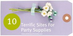 Ten sites for party supplies