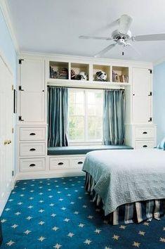 Small Room Bedroom, Blue Bedroom, Closet Bedroom, Trendy Bedroom, Bedroom Storage, Small Rooms, Bedroom Colors, Small Spaces, Bedroom Decor