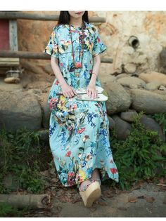 763c61215f Aliexpress.com : Buy LZJN chic women long blouse dress 2017 summer maxi  beach dresses bohemian floral shirt dress vintage robe jurken sommer kleid  from ...