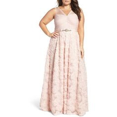 Plus Size Women's Adrianna Papell Embellished Petal Chiffon Ballgown ($349) ❤ liked on Polyvore featuring plus size women's fashion, plus size clothing, plus size dresses, blush, plus size, sparkly dresses, adrianna papell dress, sparkly cocktail dresses, plus size cocktail dresses and ruched dress