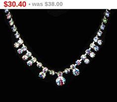 Rainbow Iris Glass Rhinestone Necklace - Prong Set STones in Silvertone Setting - Vintage Jewelry