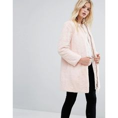 MAX&Co Faux Pink Fur Darsena Coat featuring polyvore, women's fashion, clothing, outerwear, coats, pink, embroidered coats, max&co coat, striped coats, faux coat and pink fur coats