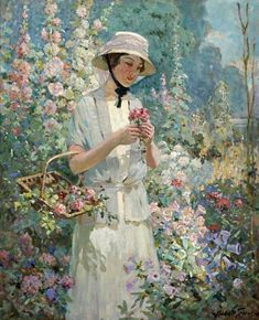 Abbott Fuller Graves - Women With Flower Basket - Approximate Original Size - - American Art Artist Prints Paintings Painting Garden Painting, Oil Painting Flowers, Garden Art, Art Floral, Illustration, Hollyhock, A4 Poster, Flower Basket, Beautiful Paintings