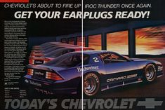 Get your ear plugs ready Chevrolet Camaro IROC ad 1985 HR Camaro Iroc, Chevrolet Camaro, Pontiac Gto, Corvette, Vintage Race Car, Vintage Ads, Car Brochure, Car Advertising, Buick