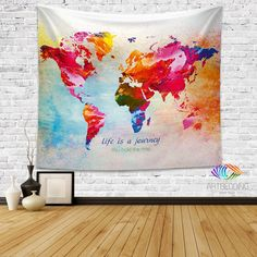 World map Quote wall Tapestry, world map watercolor inspirational quote wall…