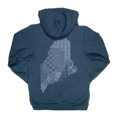 Maine Counties Zip Hoodie - Made in USA, Printed in Maine. Available in 2 Colors. Unisex Hooded Sweatshirt with Zipper
