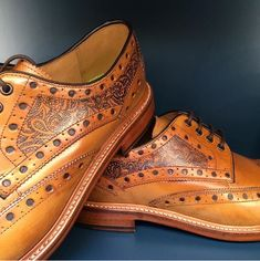 Paisly print tattoos on tan brogue shoes Tan Brogues, Leather Brogues, Shoe Tattoos, Print Tattoos, Pinstriping, Modern Mens Fashion, Best Shoes For Men, Derby Shoes, Fashion Shoes