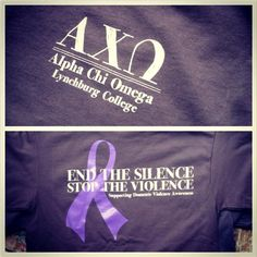 Alpha Chi Omega Lynchburg College, End the silence stop the violence!  Sorority T-Shirts.  Greek101 Philanthropy shirts. Purple Ribbon
