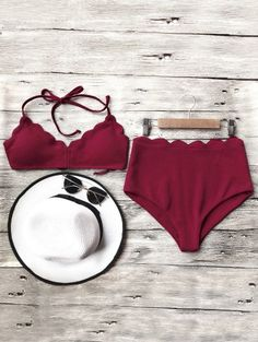 SHARE & Get it FREE | Halter Scalloped High Waisted Bikini Set - BurgundyFor Fashion Lovers only:80,000+ Items • New Arrivals Daily Join Zaful: Get YOUR $50 NOW!