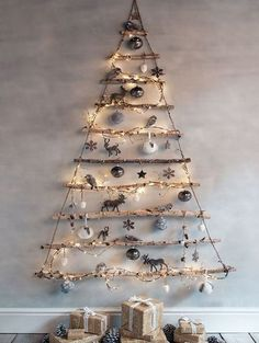 Wall Mounted Tree - Rustic Christmas Light Ideas That Prove Holiday Decor Can Be Chic - Photos